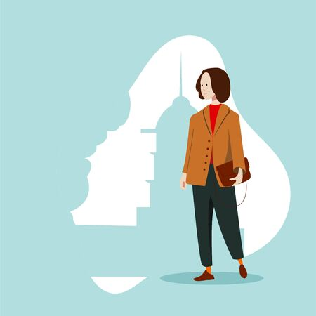 A girl in a business suit stands on the background of the silhouette of an old building. Flat vector character.