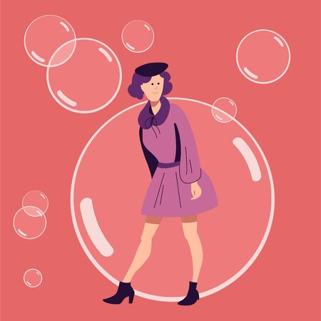 A young girl in a dress and a beret is standing against a background of soap bubbles. Flat vector illustration.