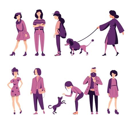 A set of people of different sex and age in outerwear, with backpacks, men and women standing in different poses, walking with dog. Flat vector characters.