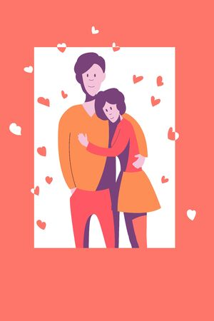 Young couple in love stands embracing. Boy and girl. Valentines Day. Flat vector illustration.
