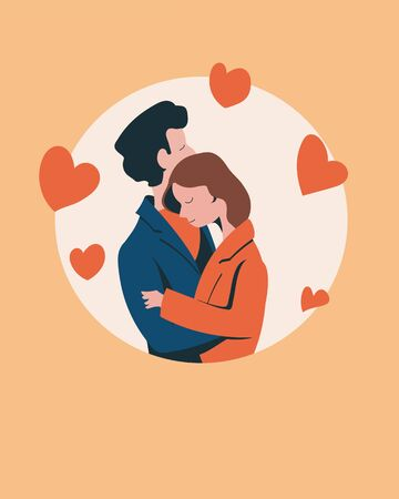 Loving couple, girl and guy cuddling against the background of hearts. Valentines Day. Flat vector illustration.