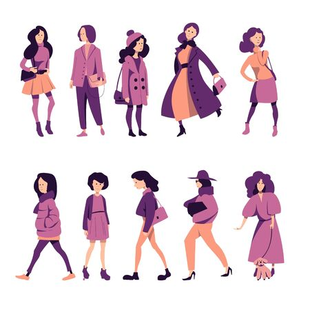 Girls in fashionable outerwear stand in different poses. Set of flat vector characters.
