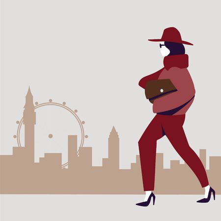 Girl in fashionable clothes walking against the background of a modern city. Flat vector illustration.