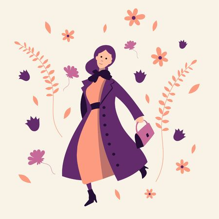 A girl in spring outerwear joyfully dancing on a background of flowers and branches. Flat vector illustration.