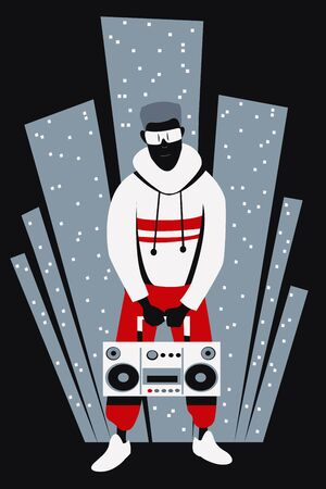 A young African American guy in a tracksuit with a boombox in his hands stands against the backdrop of a stylized image of a metropolis. Flat vector illustration.