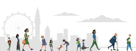 A crowd of people walking along the street against the backdrop of the buildings of the big city. Flat vector illustration.