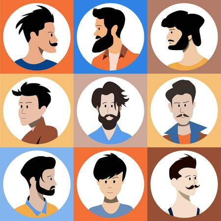 Set of flat style avatars of colorful vector icons. Character set of people. Stock Illustratie