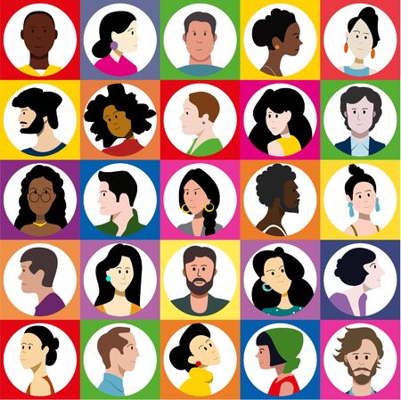 Set of bright icons of male and female flat vector characters. Stock Illustratie