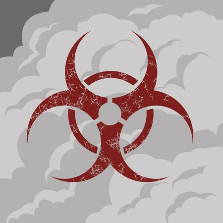Biohazard symbol on a background of clouds of gray smoke.Vector illustration. Stock Illustratie