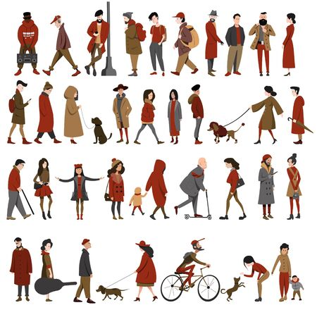Set of diverse people isolated on a white background. Standing walking, walking with dogs. Different races and clothing styles. Flat cartoon style.