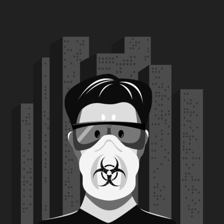 The frightened face of a man in glasses and a respirator against the background of a gray lifeless city. Symbol of biohazard. The threat of an epidemic. Stock Illustratie