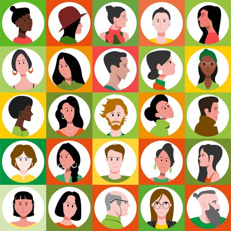 Set of bright icons of male and female flat vector characters. 向量圖像