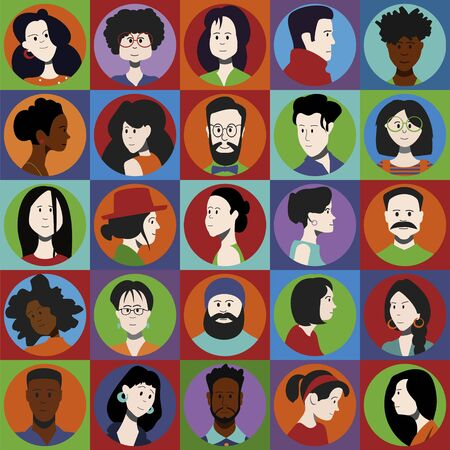 Set of color portraits of people, men and women of different sexes and different races. Vector flat icons.