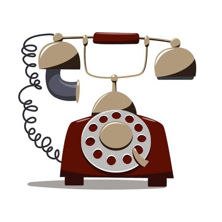 Old twenties disk telephone set in flat cartoon style isolated on white background.  イラスト・ベクター素材
