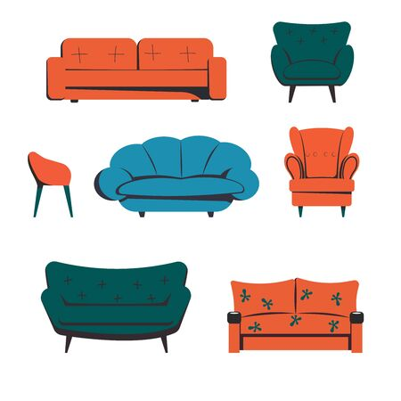 A set of furniture for the room, sofas, chairs, couches. Home furnishings in a flat style.