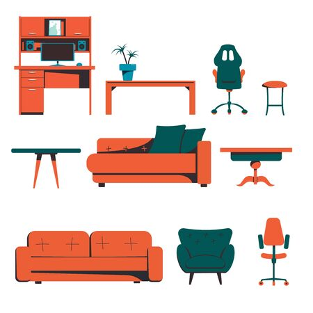 A set of room furniture, a desk, a coffee table, a sofa, a chair. Flat vector illustration isolated on white background.