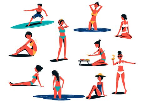 People on the beach are relaxing, sunbathing, swimming, surfing, preparing sandwiches. Flat illustration isolated on white background.