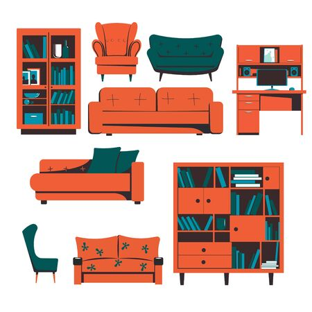A set of furniture. Bookcases, sofas, tables, armchairs. Vector illustration. Иллюстрация