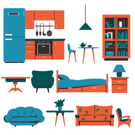 A set of different furniture, a refrigerator, kitchen furniture, a bed, sofas, chairs. Flat vector illustration.