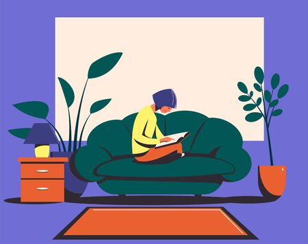 Girl sitting on a sofa reads a book. Relax at home. Flat vector illustration.