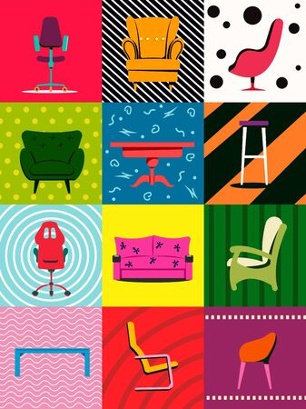 Colorful set of furniture. Armchairs, chairs, tables. Furniture advertising. Vector illustration.