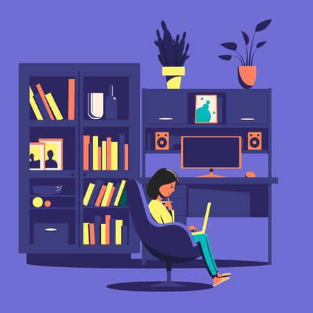 A girl sitting in a chair reading a book against the background of a bookcase and computer desk. Home leisure.