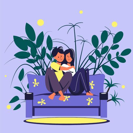 A loving couple is sitting on a sofa in a home setting against a background of home plants. Flat vector illustration.