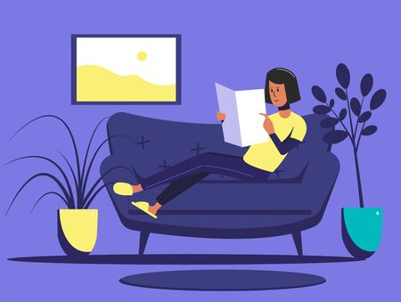 A young guy is reading a magazine while lying on a sofa. Flat vector illustration. Illustration