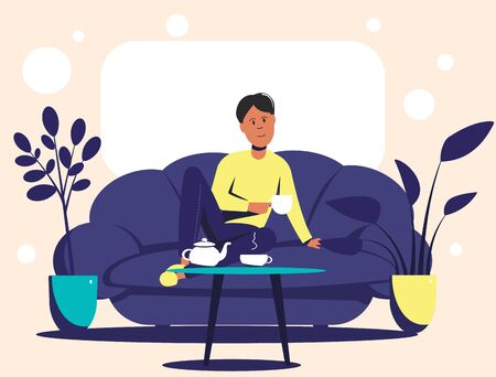 A young man sitting on a couch drinks tea from a mug. Flat vector illustration.