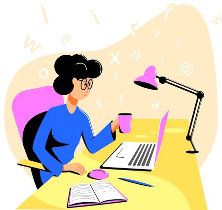 Girl with a mug of tea in hand works sitting at a table on a laptop. Copywriter, writer, journalist at work at home. Flat vector illustration.