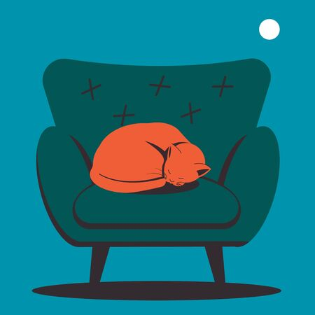 Cat sleeping on an armchair. The symbol of home comfort. Flat vector illustration.