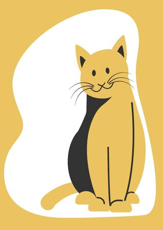 Sitting cat in a flat style. Poster about pets. Illustration