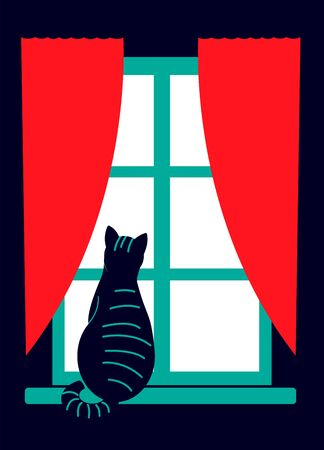 A black cat sits on a windowsill and looks out the window. Pets. Illustration