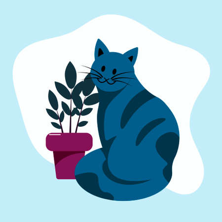 Domestic cat sitting on the background of a domestic plant. Flat vector illustration.