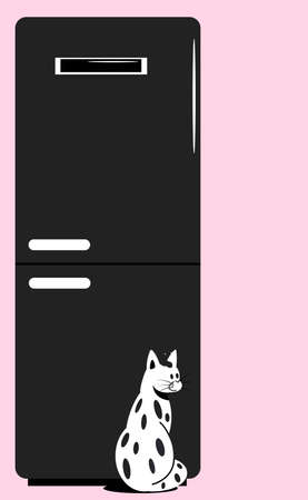 Domestic cat sitting on the background of the refrigerator. Flat vector illustration.