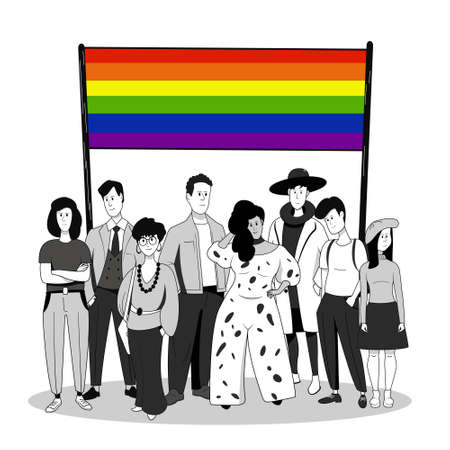 A crowd of people of different  and age with a rainbow flag.  Community. Vector illustration. Illustration