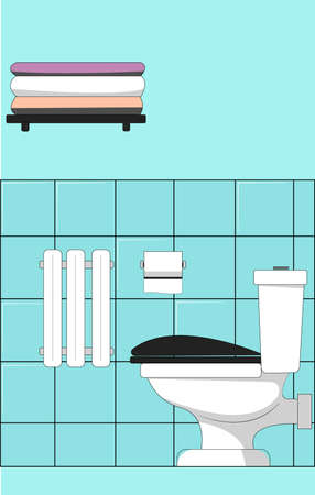 Toilet bowl on the background of the wall. The bathroom. Flat vector illustration. Illustration