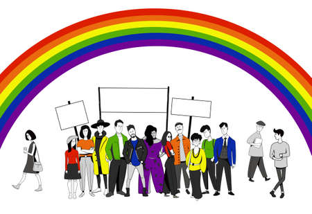 People standing together against a rainbow background. LGBT community. Illustration