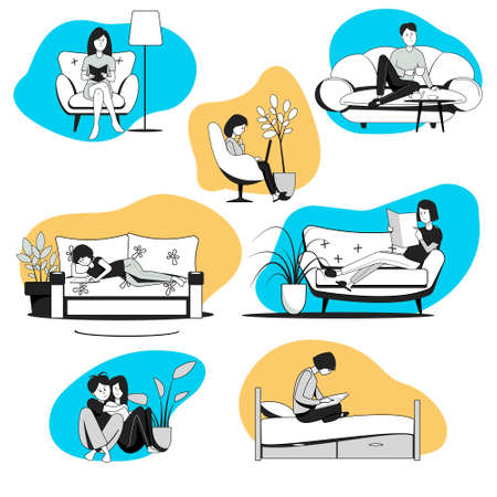 People at home, read, relax sitting and lying down. Set of people at home.