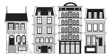 Vector set of old vintage houses. Multi-family and private houses.