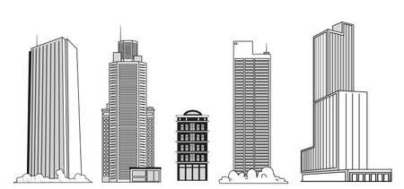 Set of vector drawings of skyscrapers to create city landscapes.Tall modern buildings.
