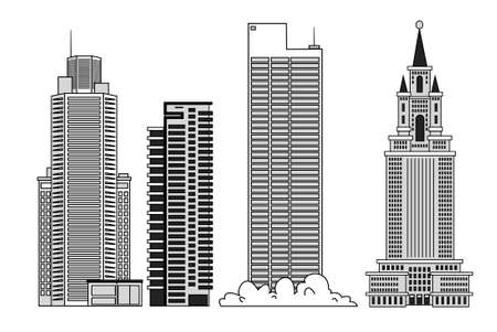High-rise multi-storey buildings. Skyscraper set for urban illustrations. Illustration
