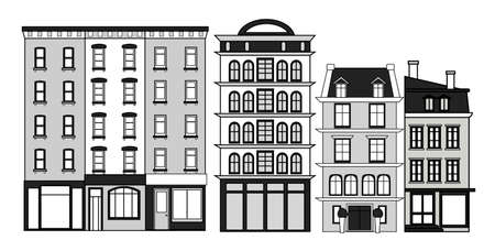 A set of old town houses. Black and white vector illustration. Illustration