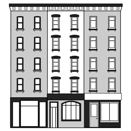An old high-rise New York building. Vector illustration. Illustration