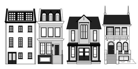 Set of vector old vintage multi-storey houses to create an illustration of the old city.