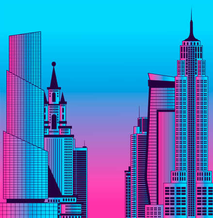 Image of a metropolis in neon colors. City landscape.