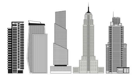 Set of skyscrapers in black and white isolated on white background.