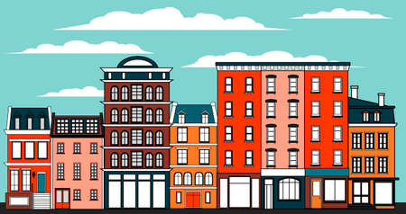 Many old multi-storey buildings. Residential buildings on a city street. Facades of houses. Vector illustration.