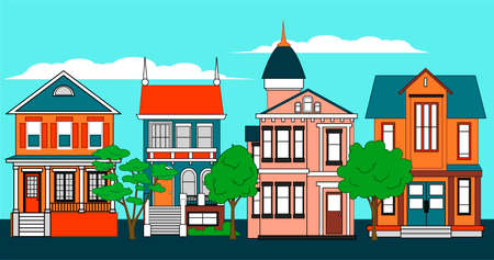A street of private country houses with trees, road, sky and clouds. Flat vector city illustration.