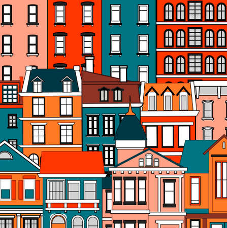 Vector background with colorful bright facades of houses. Various colors and shapes of old houses.